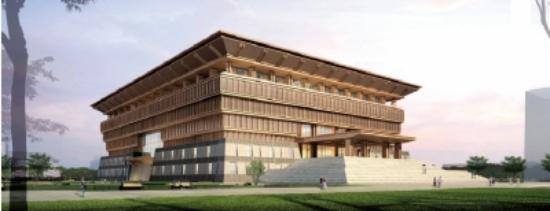 新校区图书馆效果图-洛阳师范学院汉代风格新校区 迎来首批3700名新生