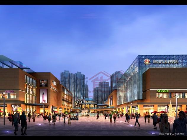 商业广场主入口透视图