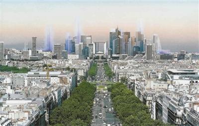 黎新区的标志性建筑——拉德方斯区虽然建在巴黎西北部-巴黎城市发