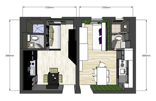 20平米小户型 双胞胎姐妹的甜美公寓设计