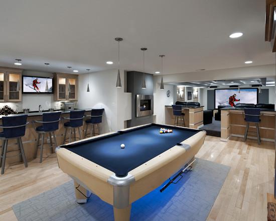地下室家庭影院_12个地下室设计案例乐high全家——台球室,吧台,家庭影院!一应俱全
