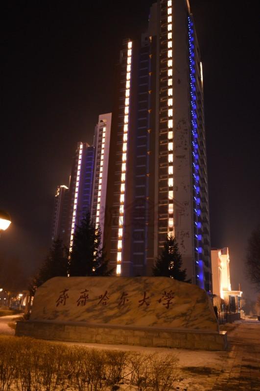齐齐哈尔大学-除夕之夜 齐齐哈尔劳动湖畔高档住宅区街景