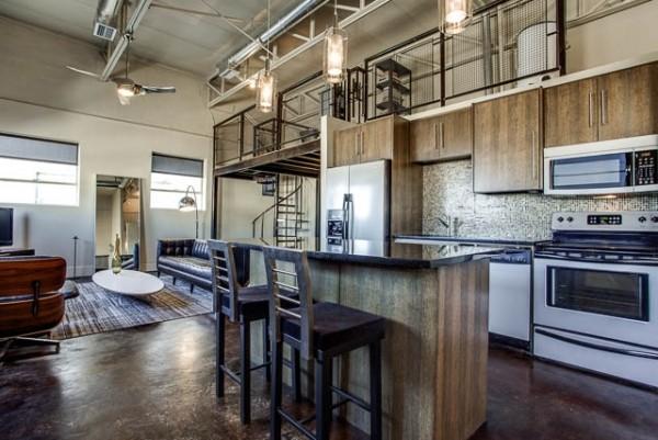 美式loft工业风挑高公寓图片