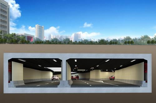 星港街隧道工程6月开建 南北两座景观天桥横跨星港街高清图片