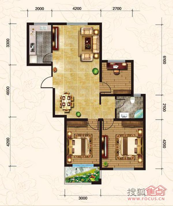 9米9米二房一厅设计图展示