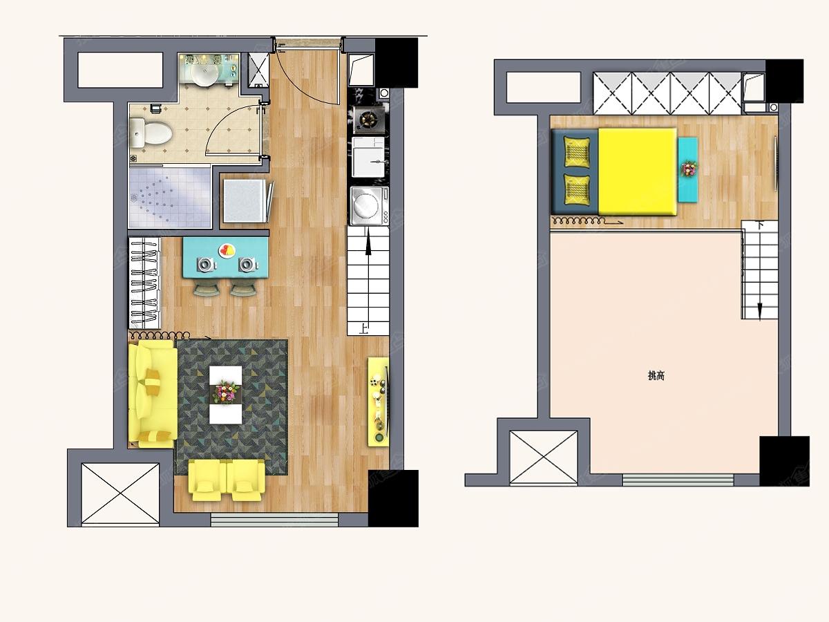 37-40平米挑高公寓户型户型
