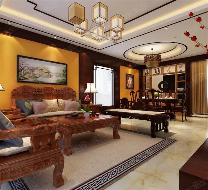 广源国际140平米中式装修风格设计案例140㎡四房中式装修效果图方高清图片