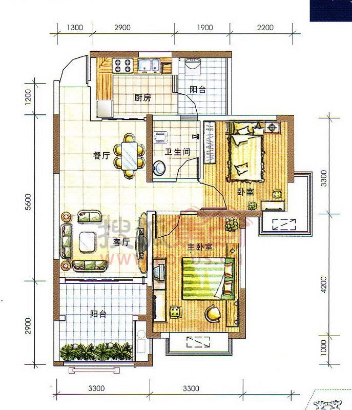 人和莱茵湖畔-c1栋一单元01号房户型-2室2厅2卫.