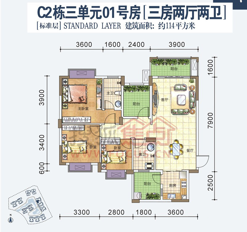 人和莱茵湖畔三居室[标准层]c2栋三单元01号房户型_图