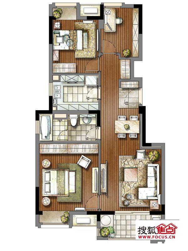 万科金域蓝湾95㎡的e户型,该户型为3房结构,一梯两户,户型朝南