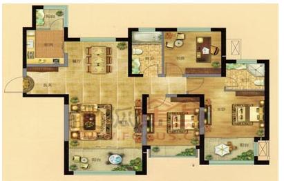 凯景广场 建筑面积约140平方米三室两厅两卫c户型