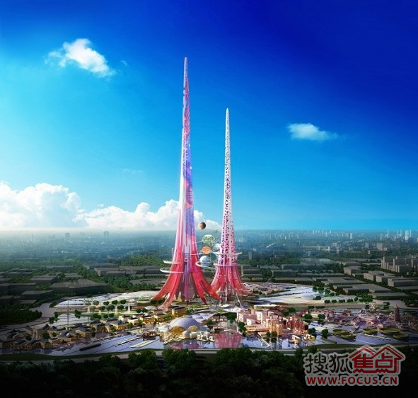 尽管已经拥有了许多超高层建筑,但是中国即将迎来另外两幢破纪录的双子塔(迪拜塔828米 vs. 凤凰塔1000米)。据悉,该项目坐落在一座47公顷(116英亩)的湖心岛上,占地为7公顷(17英亩)。而在设计元素上,Chetwoods采纳了寓意双凤的神话风格较高的这座塔为凤,稍矮的这座塔则为凰。如果一切顺利,双塔的地基将于明年开工,总施工则可能需要至少3年的时间。图为双子塔效果图。
