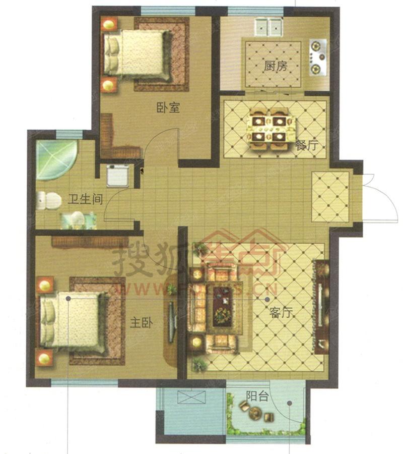 绿城理想之城商铺二居室90平米两居室 绿城理想之城商铺户型图