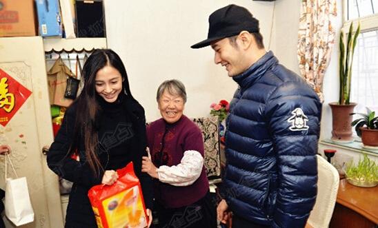 黄晓明带女友回家过年