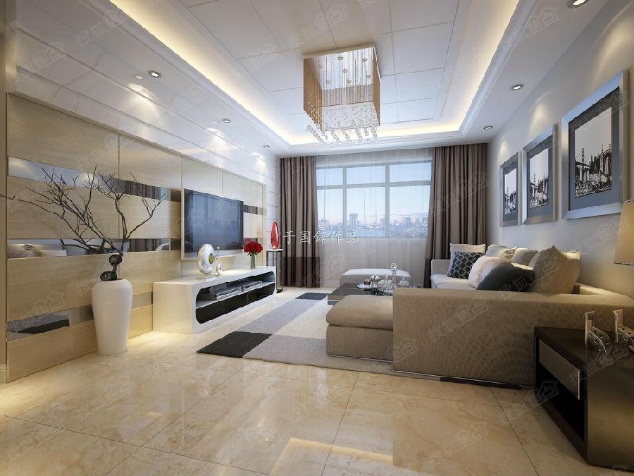 豪庭现代简约温馨两居室装修效果图---青岛实创装饰