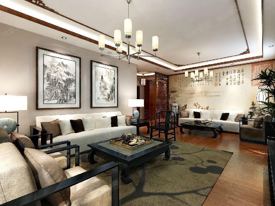 169平现代中式装修风格,装修样板房 青岛实创装饰高清图片