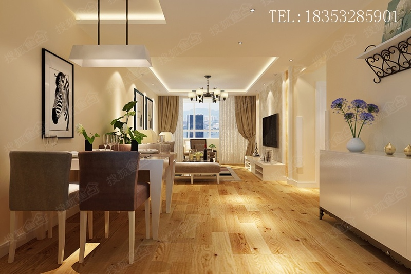 小户型简装修 88平现代两居室 实创装饰高清图片