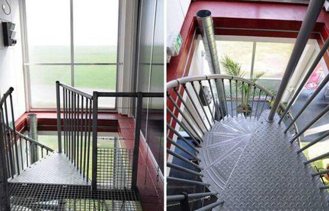 复式集装箱别墅中,金属质感的旋转楼梯更酷.