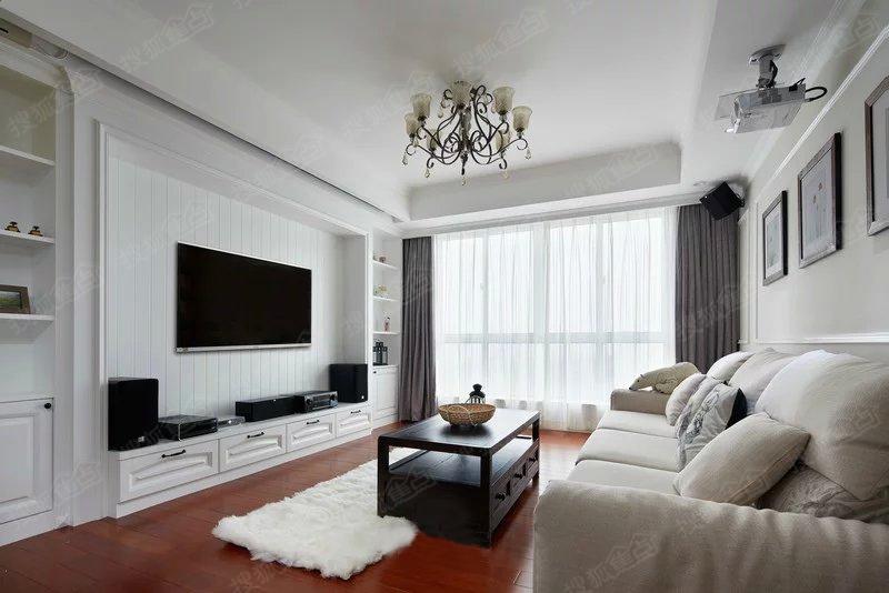 青岛实创装饰 小区90平米小户型现代风格装修效果图高清图片