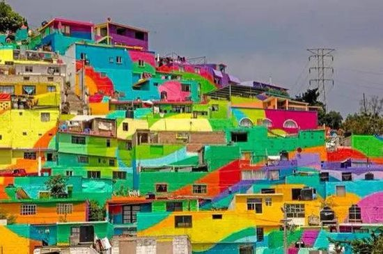 彩虹和房子画画