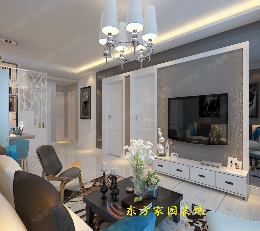 93平三室两厅北欧风格朴素温馨家装设计效果图 东方家园装饰高清图片