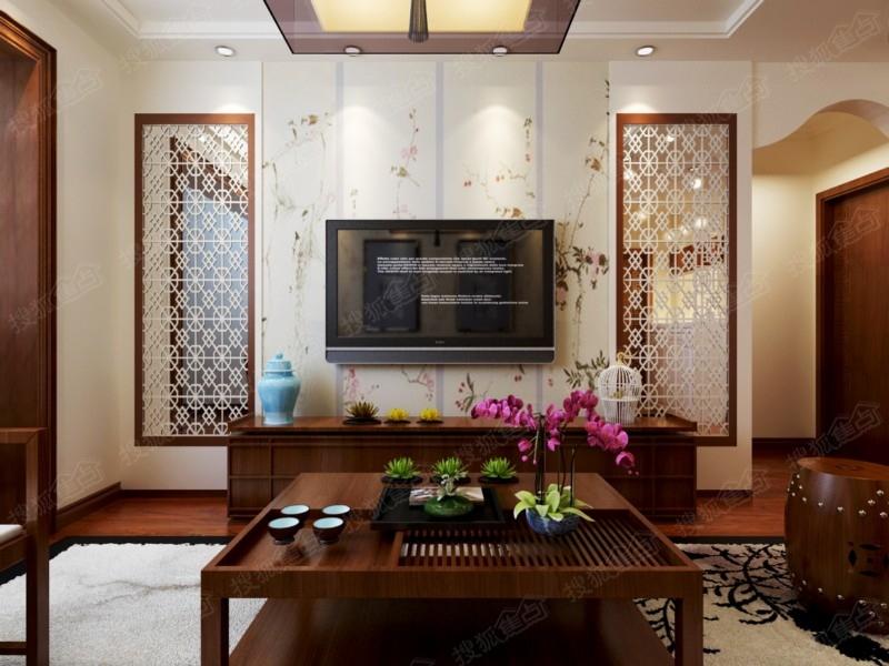 【海尔时代广场】93平d2户型三居室新中式风格装修设计图 装修效果图图片