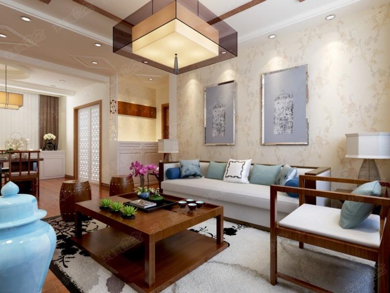 93平D2户型三居室新中式风格装修设计图 装修效果图高清图片