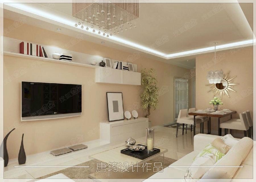 市北重庆路 90平两居室现代简约风格装修效果图高清图片