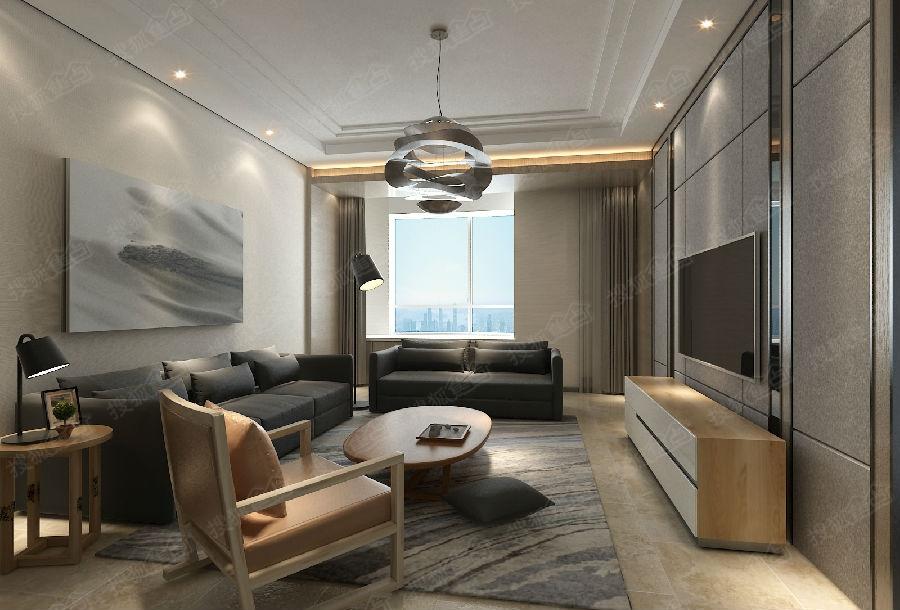 青岛市南区 88平两居室现代风格功能性设计装修效果图高清图片