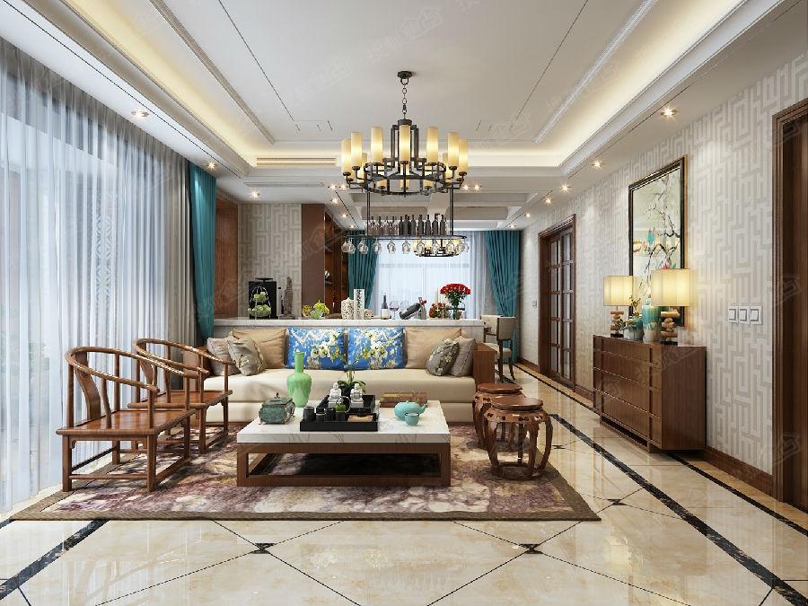 青岛大户型新中式风格【绿城诚园】143平三居室新中式