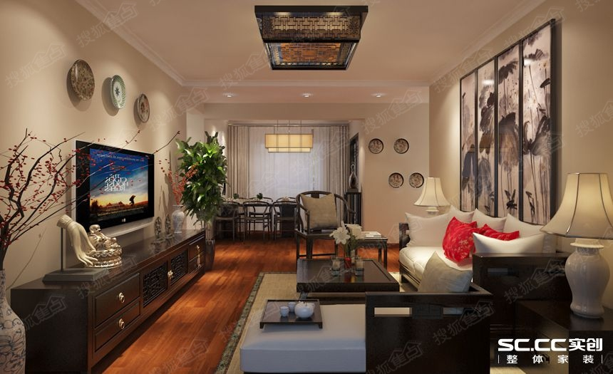 三居室装修【太阳岛】129平新中式设计|青岛实创装饰