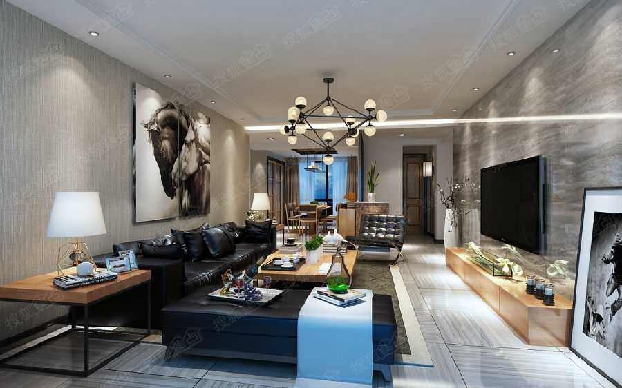 顺源家园110平三居后现代风格装修案例