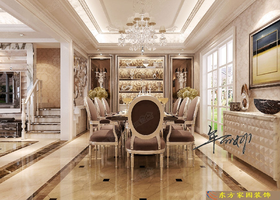青岛东方家园装饰 龙湖叠墅下叠206平简欧风格装修图