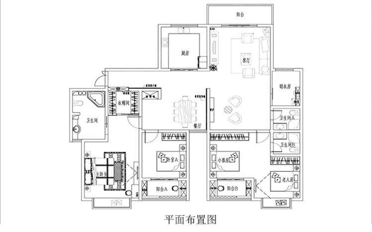 星雨华府142平三居室欧式装修案例 青岛实创装饰