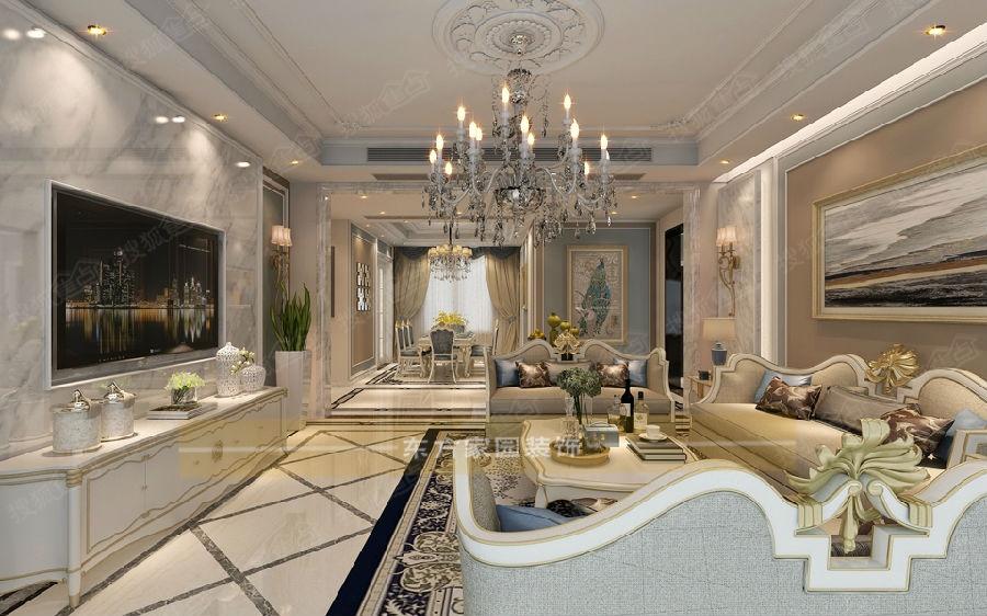 浪漫一生|开发区【缦沙半岛】300平别墅法式风格装修设计|青岛别墅图片