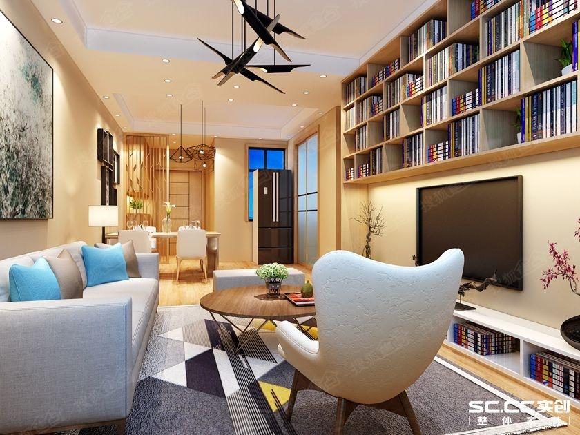 客厅电视墙做了简易书柜,进入客厅弥漫着很浓的书香气息图片