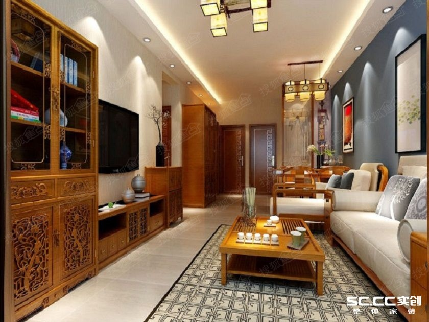此方案为中式风格,在装饰色彩上以原木色                    后现代