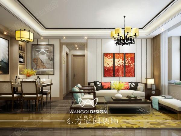 110平 设计风格:新中式风格 设计单位:青岛东方家园装饰 设计师:王琦