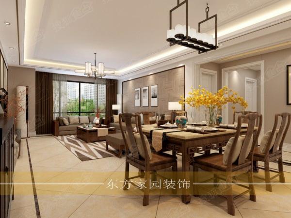 市北晓港名城216平大平层中式风格装修效果图施工样板间图片