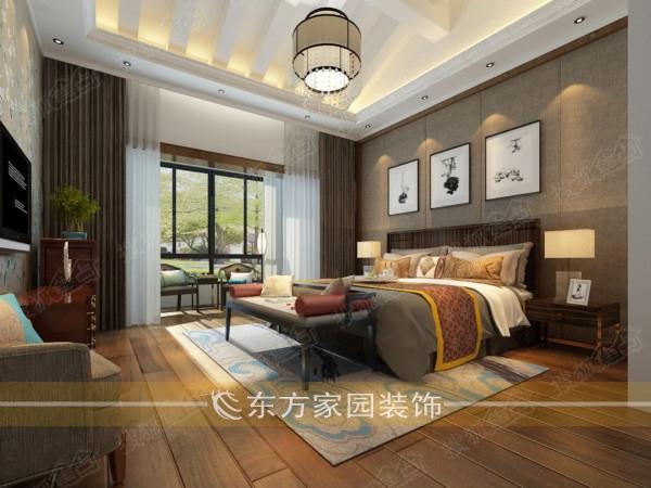 城阳世贸意墅湾190平下叠三层别墅中式风格实景装修