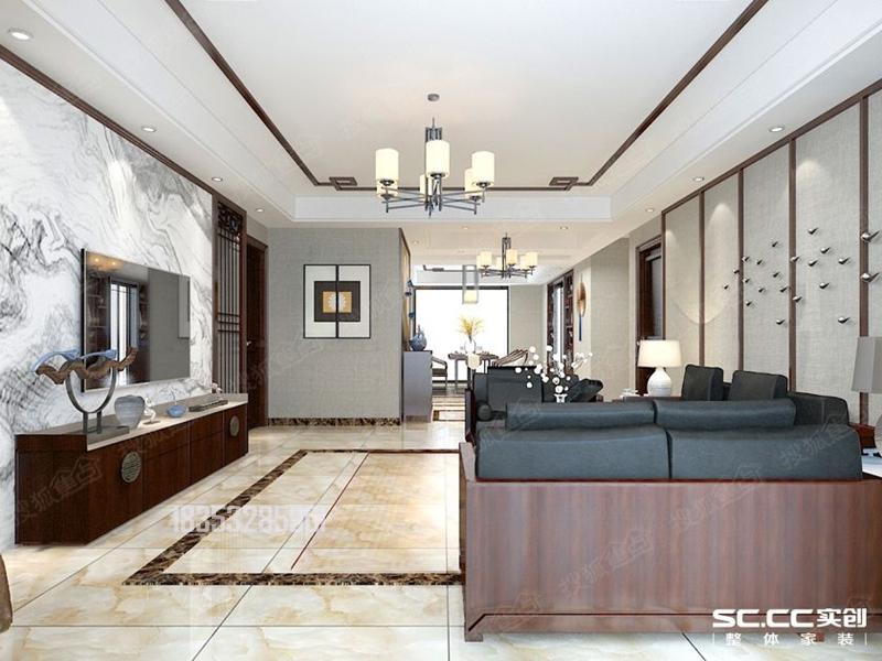 金地悦峰191平大平层装修设计,中式风格图片