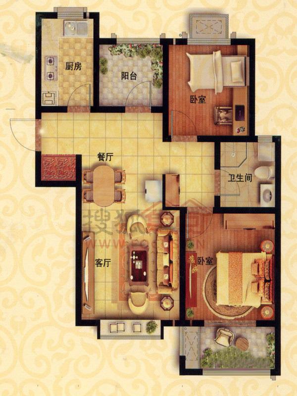 中南世纪城二居室b4-2_中南世纪城户型图-青岛搜狐