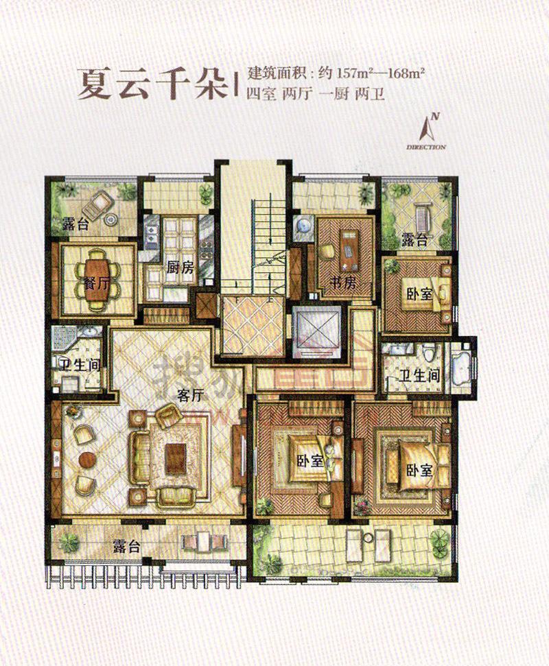 庭院夏云千朵四室两厅一厨两卫建筑面积约157-168平方米户型图; 青岛