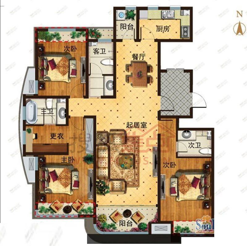 青特城三室两厅三卫149平方米2a户型图图片