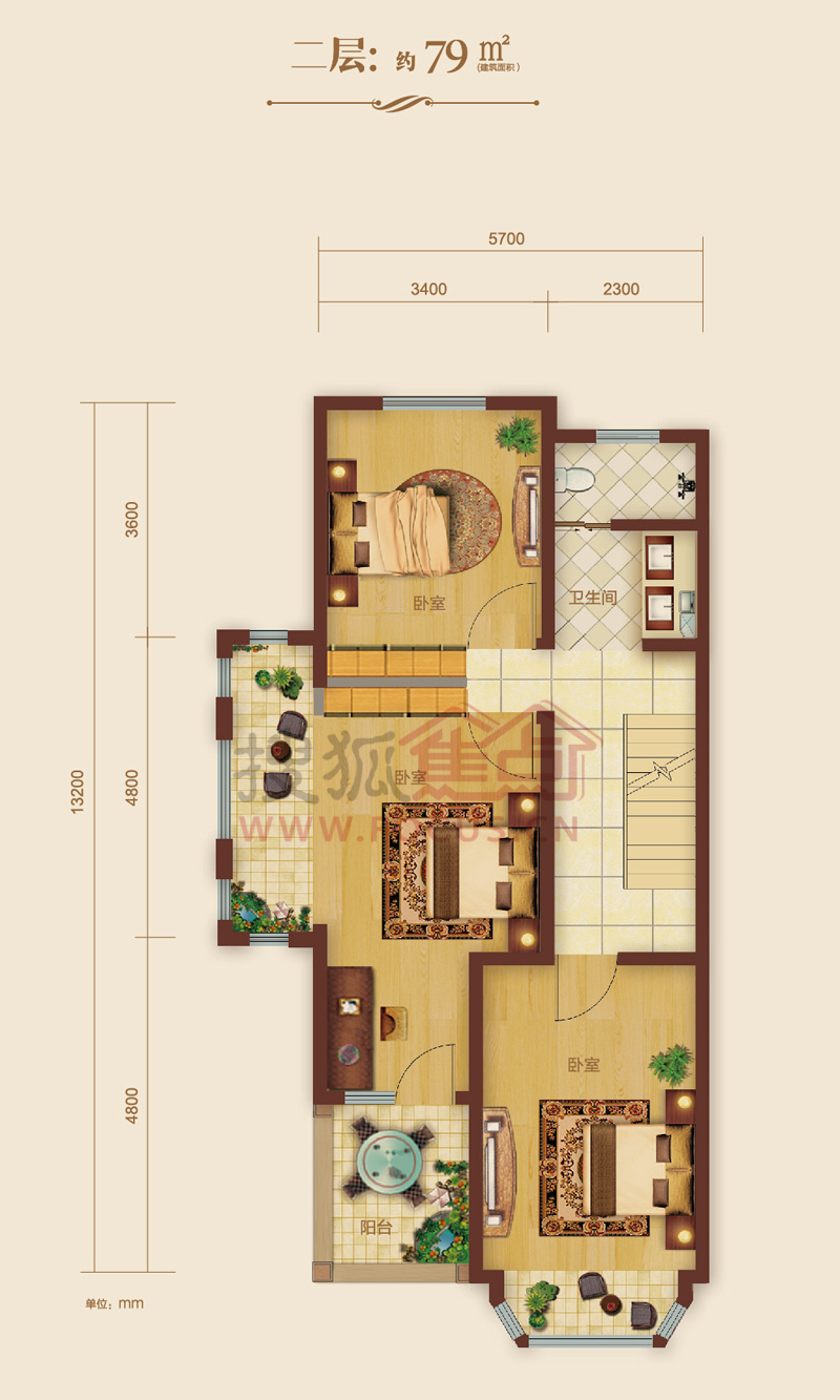 建筑面积约79平方米二层层别墅a户型户型
