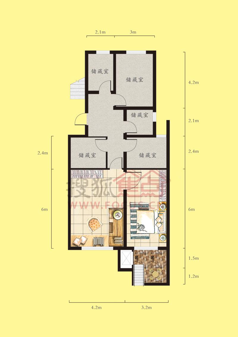 建筑面积约116.76平三室两厅一卫f户型半地下户型图户型图片