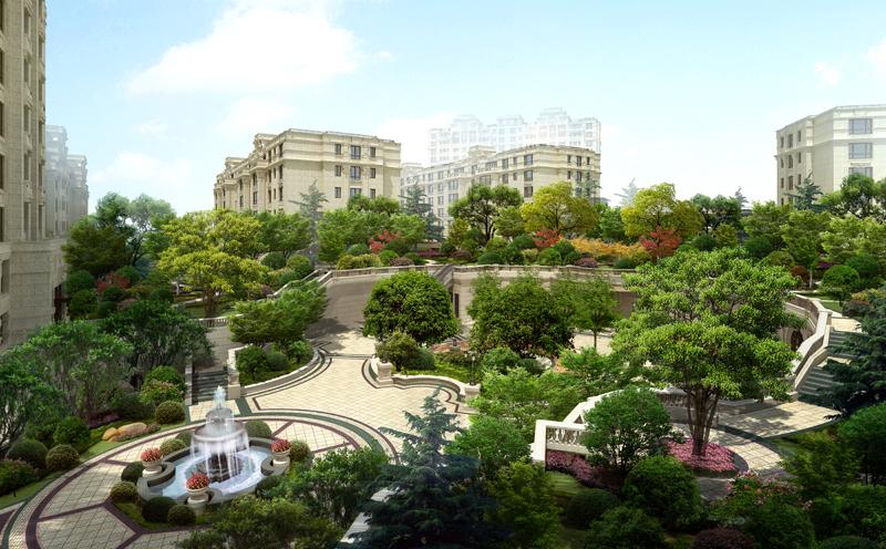 远洋公馆中心景观俯视效果图-由6栋多层3栋小高层组成 开盘时间未定