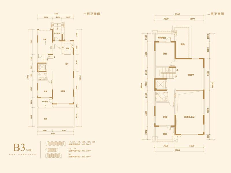 金屋秦皇半岛二区联排别墅b3中室一层/二层户型图