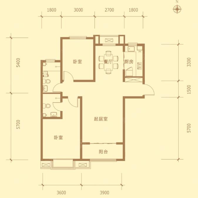 金屋秦皇半岛一区16号楼110平米户型图