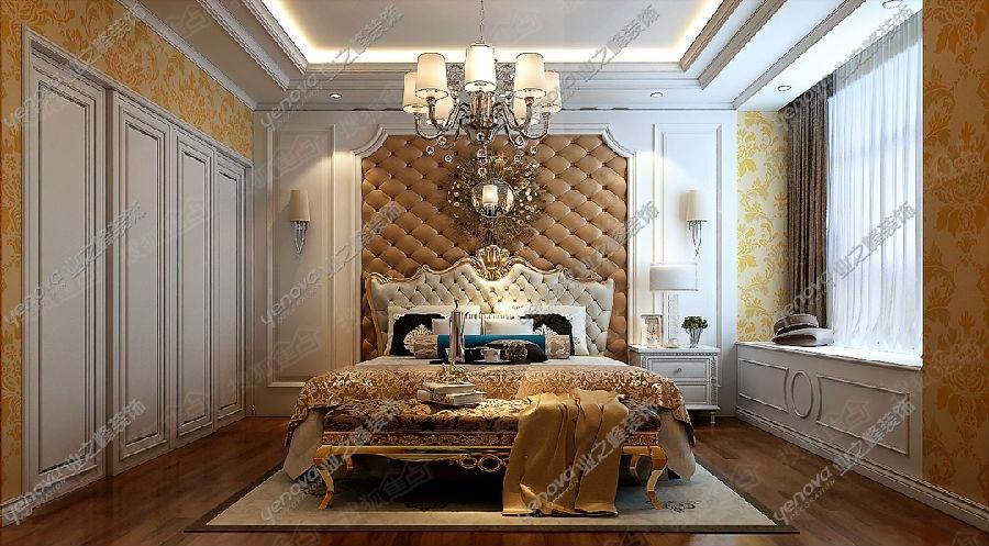 【图为卧室正面视角,软包背景配以软装欧式床头,交相辉映,相得益彰】图片